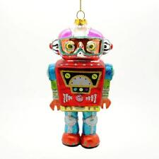"""ROBOT GLASS ORNAMENT 5"""" Red Blue Retro Outer Space NEW Sci Fi Christmas Tree"""