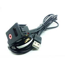Auto 3.5mm USB Aux Switch USB Wire Cable Flush Mount Adapter Mounting Adapter 1x