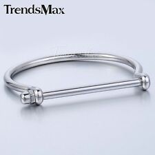 Mens Women Silver Tone Stainless Steel Cuff Bangle Bracelet Shackle Screw Clasp