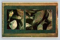 Paul Klee Aquaruarium Green - Red Postcard Pasadena Art Museum Reproduction Rare