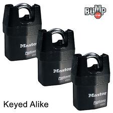 Master Lock Pro Series-(3) High Security Padlocks Keyed Alike 6321NKA-3 BumpStop