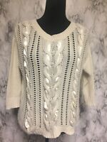 LC Lauren Conrad Size M Ivory Knit Pullover Sweater