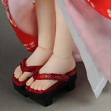 Dollmore doll shoes  MSD - Ino Wooden clogs Geta (Red)