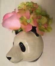 More details for quail ceramic giant panda head wall pocket or vase wildlife animal figure small