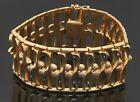 Vintage 18K yellow gold elegant high fashion 28.6mm wide fancy link bracelet