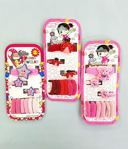 SET OF 9 PIECES HAIR BOBBLES ELASTIC CLIP BRIDAL PARTY KIDS GIRLS HAIRBAND B3