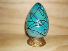 Collectible Decorative Hand Blown Lg Glass Egg Mint Teal w/ highlights