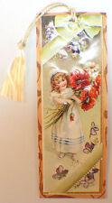Victorian Paper Bookmark Little Girl W/ Bouquette String Tassel Gift Tag #Bk-06