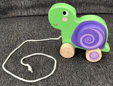 Süßes Baby Holz Nachziehtier Schildkröte Top Zustand Nachziehspielzeug