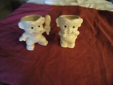 Vintage Lot of 2 Ceramic Bam Bam Planters 4 inch tall