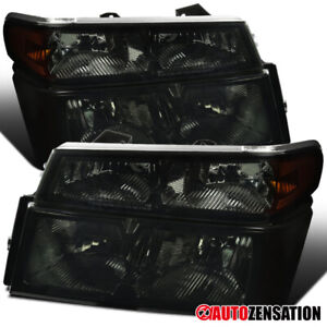 For 2004-2012 Colorado Canyon Smoke Headlights w/ Corner Turn Signal Lamps Pair