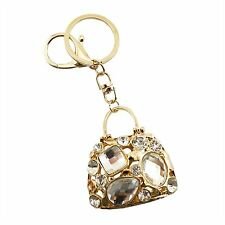 White and Gold Purse Rhinestone Swarovski Crystal Charm Pedant Purse Key Chain