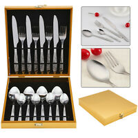 16pcs Kitchen Stainless Steel Cutlery Set Tableware Dining Wooden Canteen Box UK