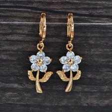 Fashion Women Gold Plated Clear Cubic Zirconia Flower Dangle Earrings Jewelry