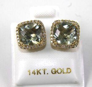 Cushion Green Amethyst & Diamond Halo Stud Earrings 14K Yellow Gold 4.17Ct