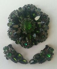 Gorgeous greens JULIANA D&E brooch set, Japaned.