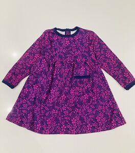 Ex Jojo Maman Bebe Purple Dress 6 To 12 M  Flower Long Sleeve Dress