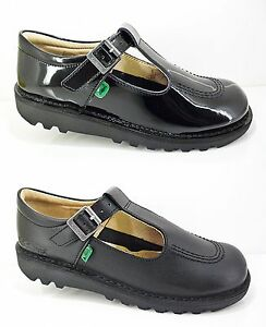 Girls KICKERS Shoes Black Leather School Patent Strap New T-Bar Casual Size 7-6