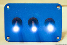 3 HOLE CRINKLE BLUE POWDER COATED PLATE W/ 3 LED TOGGLE SWITCHES - Green