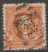 USA Scott #  310  50¢ Jefferson Used Perfin (310-9)