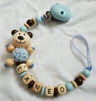 Schnullerkette mit Name 3D Teddy Babyblau Natur PREMIUM