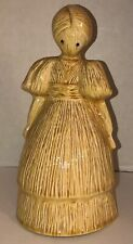 "VTG 80s CORN HUSK DOLL WOMAN 10"" Ceramic Figurine Creepy Hay Crying Eyes Hollow"