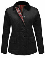 NEW WOMENS LADIES QUILTED PADDED BUTTON ZIP JACKET COAT TOP PLUS SIZES 8-26