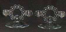 """Glass Bubble Boopie Candle Holders Set of TWO Vtg 4.25"""" Taper"""