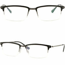 Browline Men's Women's Frame Prescription Glasses Titanium Aluminium Alloy Black
