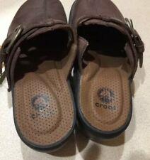 Crocs 10 Clogs Cobbler Leather Wedge Shoes Slides Euc