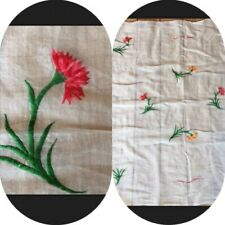 """Vtg Sheer Cloth Approximately 46""""X 46"""" Embroidered Silk Flowers Dress Material"""