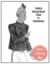 1940 Swing Dos Manteau Knitting Pattern-copie