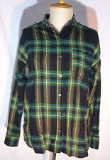 Old Navy Boyfriend Womens Plaid Flannel Green Shirt Blouse Size Small