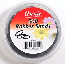 "BRAND NEW ANNIE 500ct SMALL BLACK RUBBER BANDS FOR HAIR #3159 1/2"" DIAMETER"