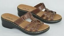 CLARKS Womens Lexi Jasmine Brown Leather Open Toe Harness Slide Sandals Size 6.5
