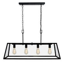 Decor Living 4-Light Matte Black Kitchen Island Light Chandelier with Clear Glas