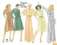 Vintage Vogue Sewing Pattern 2741 Shirt Dress in 5 versions inc Long, Size 12