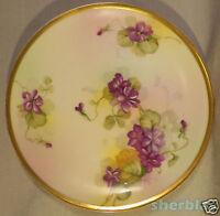 ANTIQUE Imperial Austria PSL Empire II Hand Painted PLATE Purple FLOWERS 4069 6