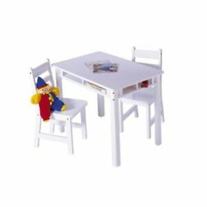 Lipper International Child's Rectangle Table with Shelves & 2 Chairs-White, Wood