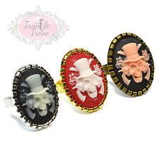Estilo Vintage tallado cráneo Cameo Anillos. ajustable anillo de base Halloween Funky
