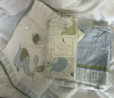 Pottery Barn Kids Eli's Elephant Nursery Bundle Sheet Valance Bed Skirt Euc