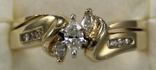 Marquise Diamond Engagement Ring with Matching Band in 14Kt Yellow Gold