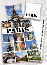 Bettwäsche Paris Carte Postale - Eiffelturm, Notre Dame - 135x 200cm - Baumwolle
