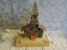 "Vintage Cardboard Putz Church Christmas Decor - 7"" Tall"