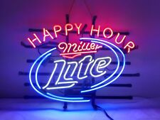 Miller Lite  Happy Hour  Real Glass Beer Bar Store Home Decor Neon Signs 19x15