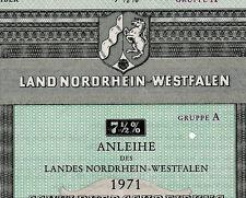 Land Nordrhein-Westfalen histor. 7,5 % Anleihe Düsseldorf 1971 NRW Niederrhein