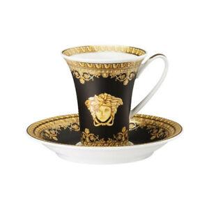 VERSACE BY ROSENTHAL BAROQUE NERO ESPRESSO CUP & SAUCER #403653-14720 BRAND NIB