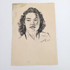 Vintage Portrait of Marjorie Petricka ~ Ink Sketch Drawing signed & dated 1950