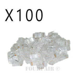 100 Pack - RJ45 8P8C CAT6 Crimp-On Connector Plugs Ends For Solid Ethernet Cable