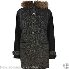 River Island Tweed Winter Coat UK 12 fluffy Hood Black Sleeve Polyester/Wool Mix